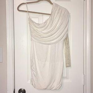 Lace sleeve, white dress